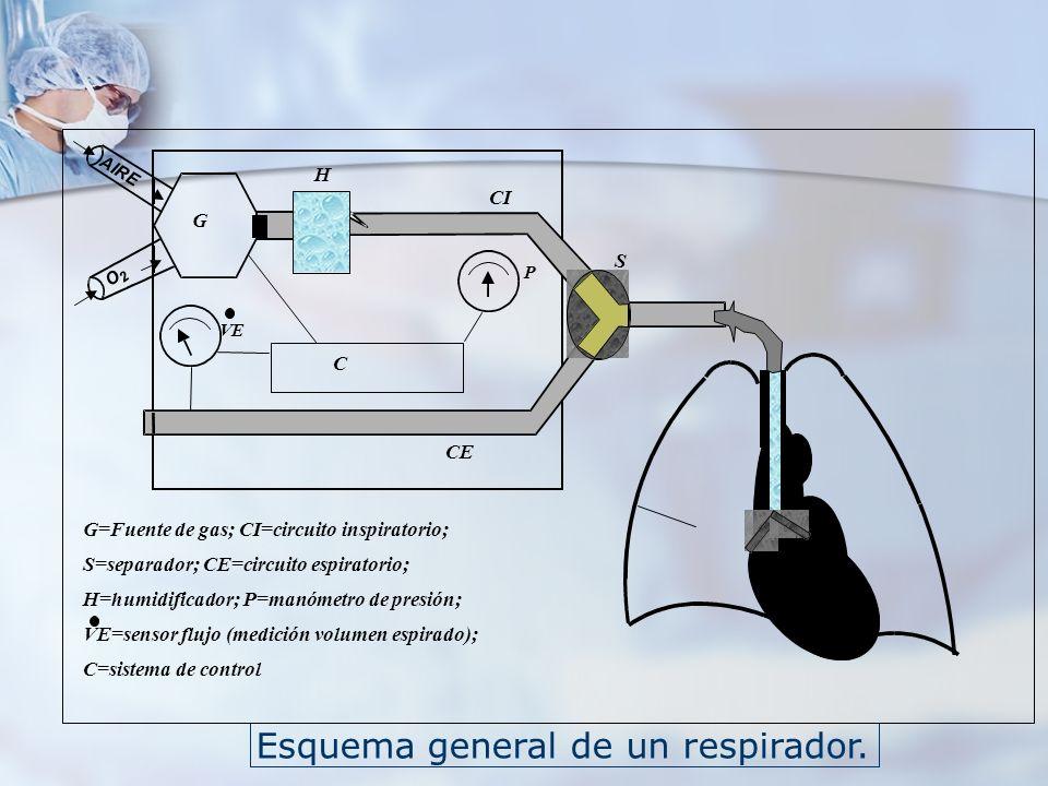 G=Fuente de gas; CI=circuito inspiratorio;