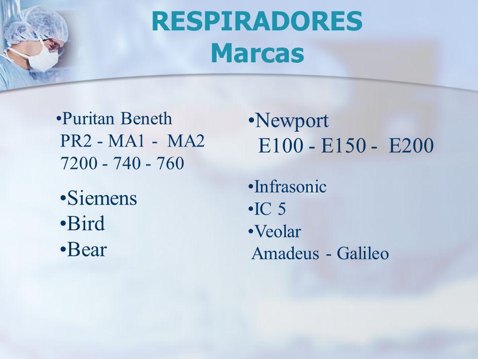 RESPIRADORES Marcas Newport E100 - E150 - E200 Siemens Bird Bear
