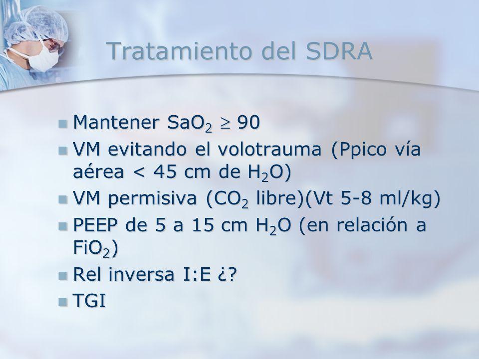 Tratamiento del SDRA Mantener SaO2  90