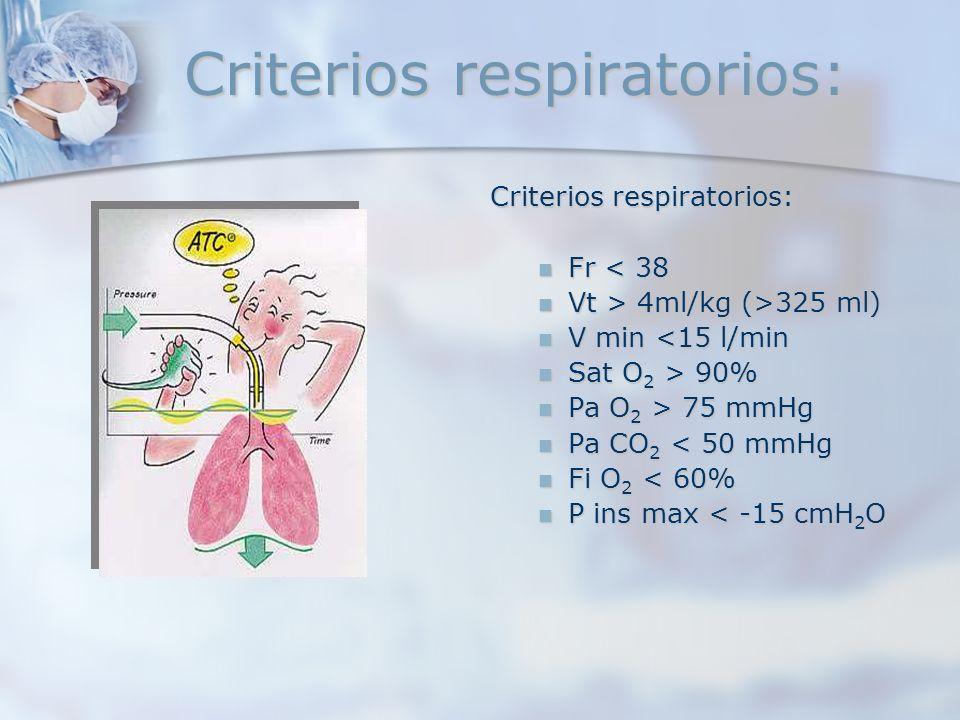 Criterios respiratorios: