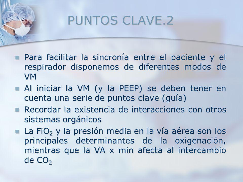 PUNTOS CLAVE.2 Para facilitar la sincronía entre el paciente y el respirador disponemos de diferentes modos de VM.