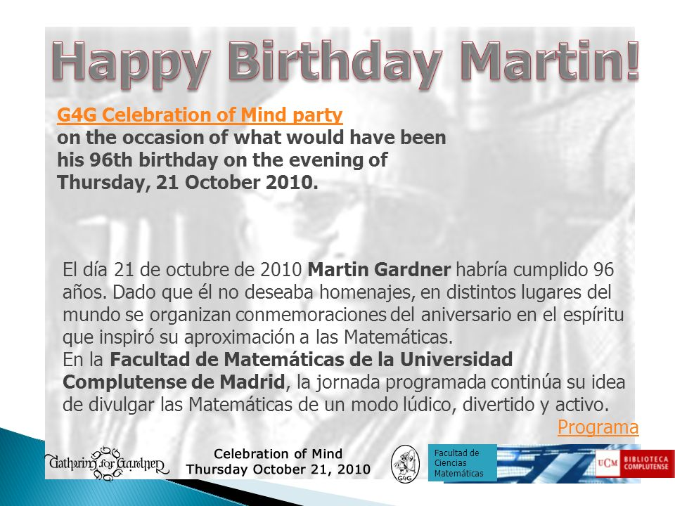 Happy Birthday Martin! G4G Celebration of Mind party