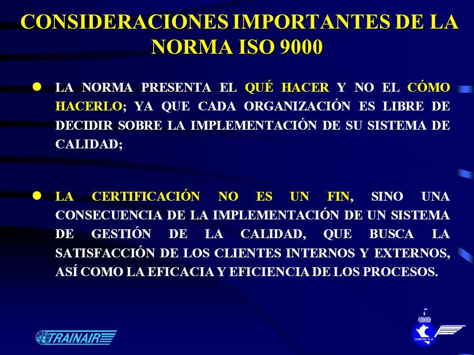 CONSIDERACIONES IMPORTANTES DE LA NORMA ISO 9000