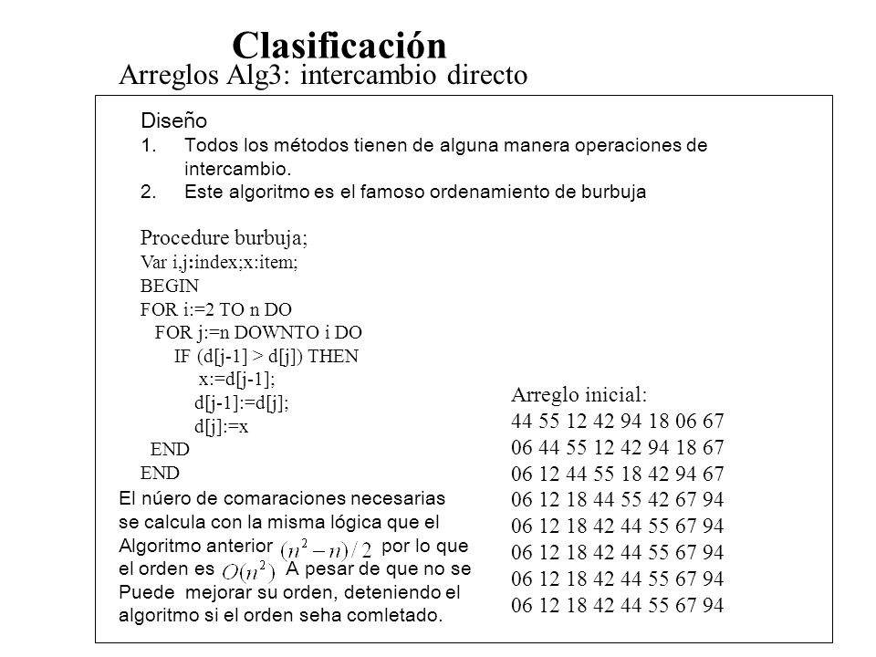 Clasificación Arreglos Alg3: intercambio directo Diseño