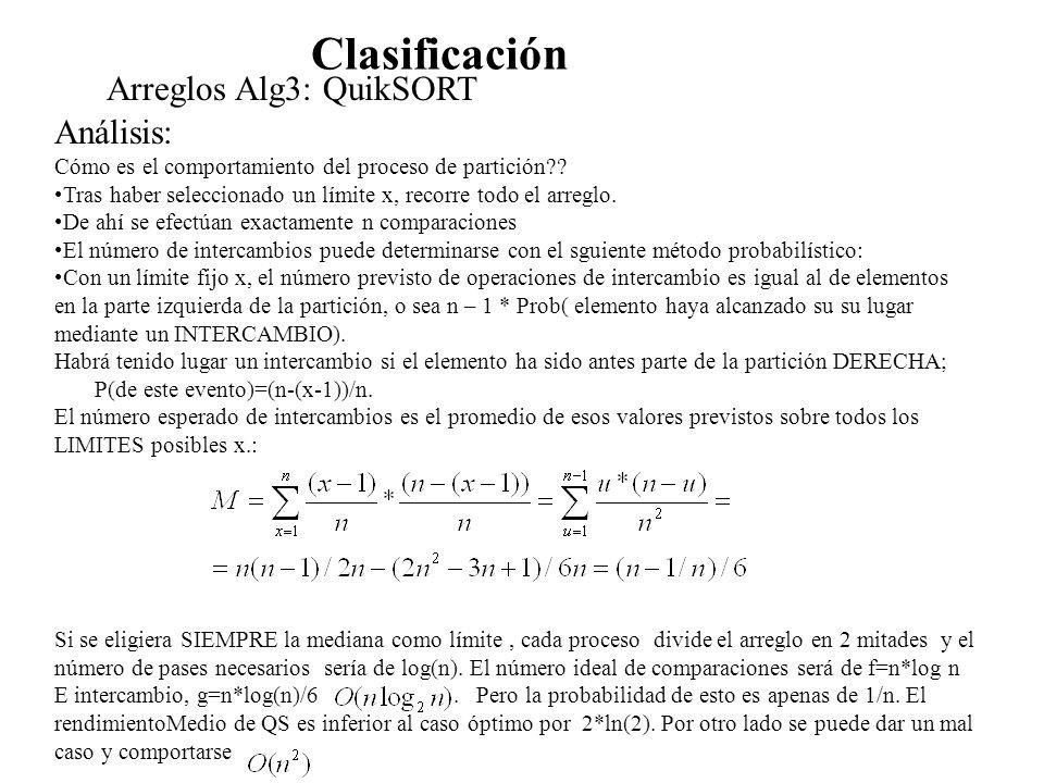 Clasificación Arreglos Alg3: QuikSORT Análisis: