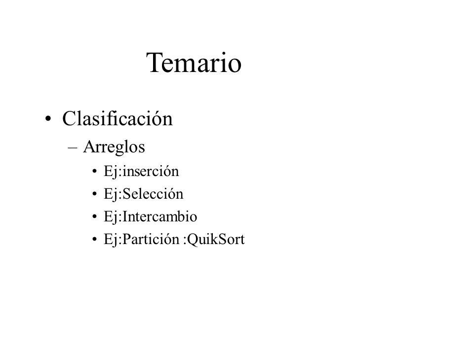 Temario Clasificación Arreglos Ej:inserción Ej:Selección