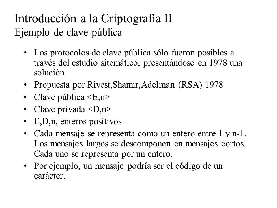 Introducción a la Criptografía II