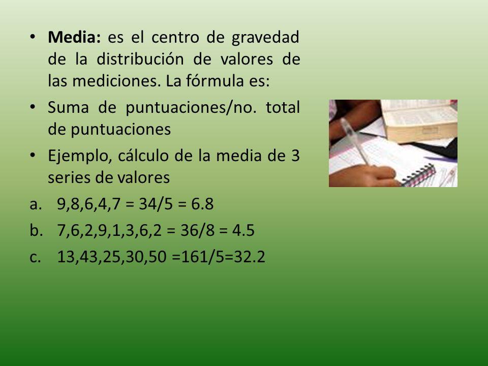 Media: es el centro de gravedad de la distribución de valores de las mediciones. La fórmula es: