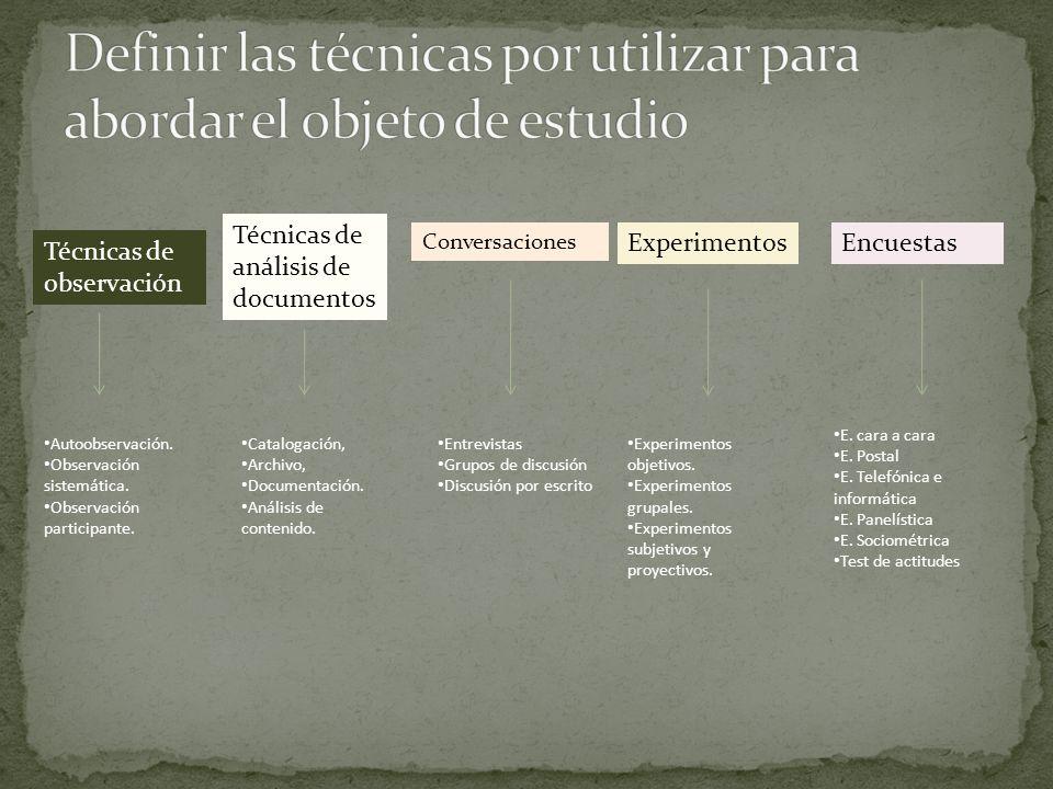Definir las técnicas por utilizar para abordar el objeto de estudio