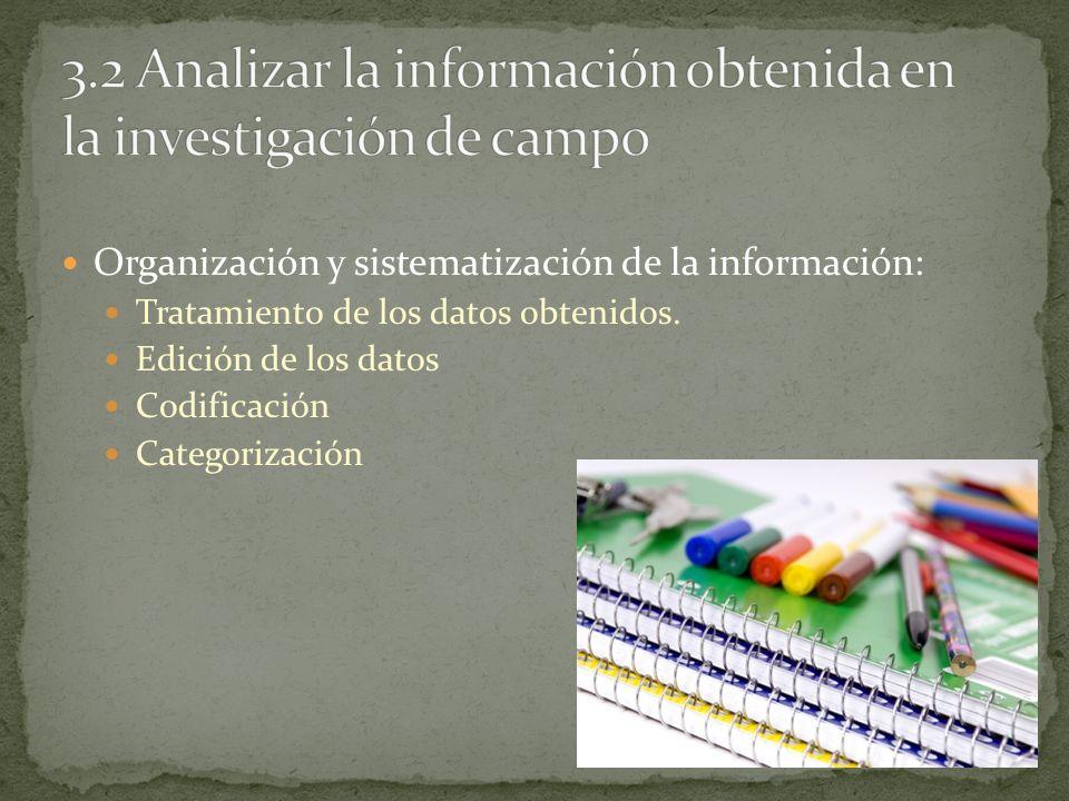 3.2 Analizar la información obtenida en la investigación de campo