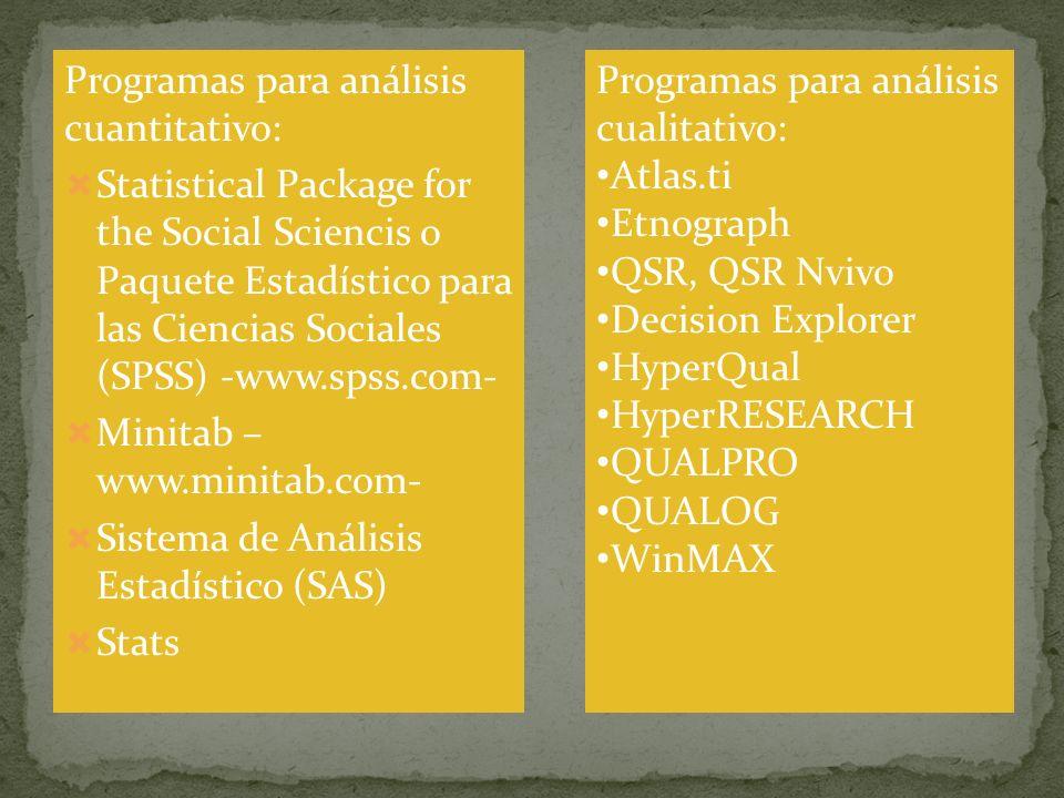 Programas para análisis cuantitativo: