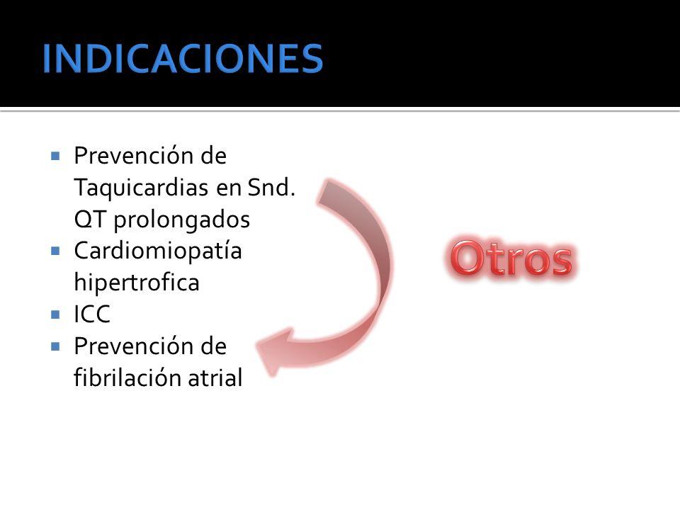 Otros INDICACIONES Prevención de Taquicardias en Snd. QT prolongados