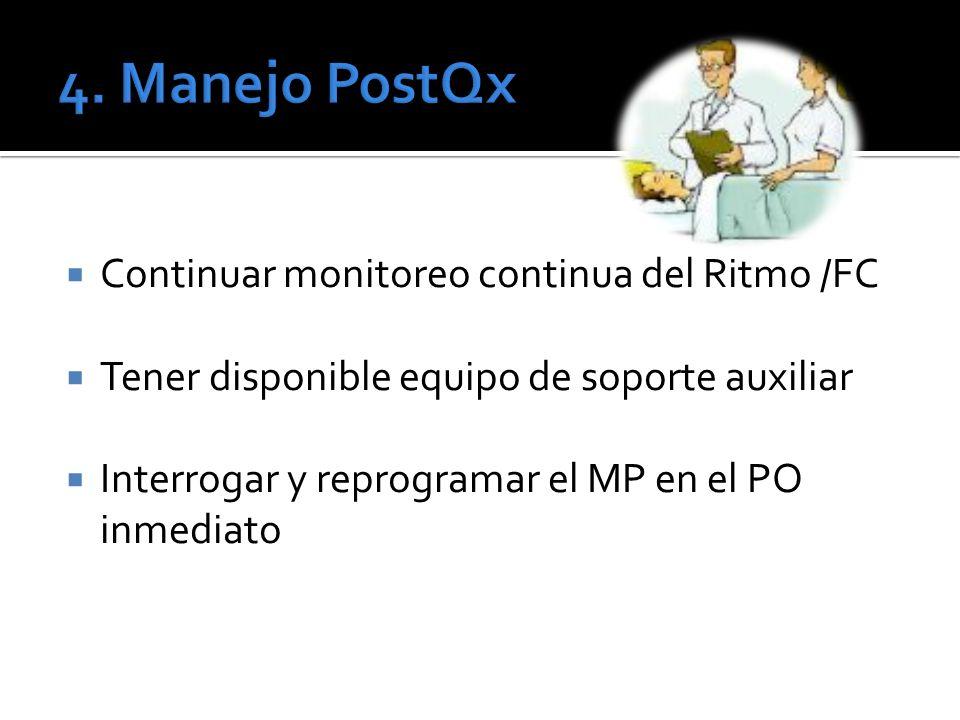 4. Manejo PostQx Continuar monitoreo continua del Ritmo /FC