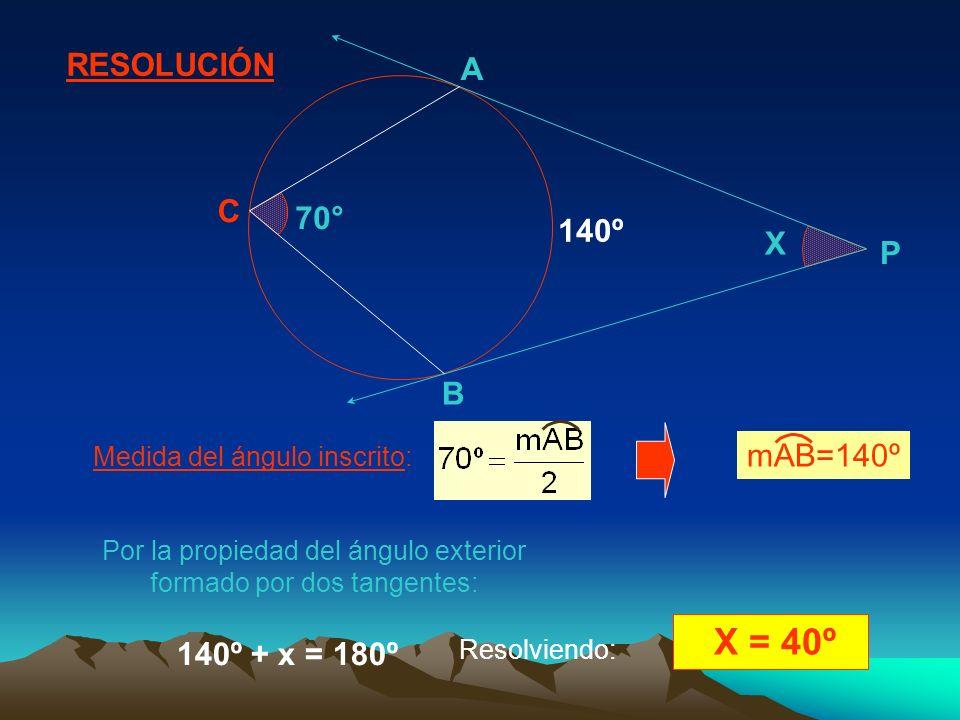 X = 40º RESOLUCIÓN A C 70° 140º X P B mAB=140º 140º + x = 180º