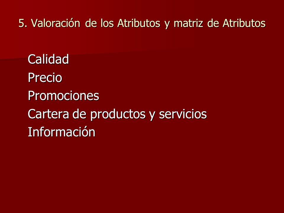 5. Valoración de los Atributos y matriz de Atributos