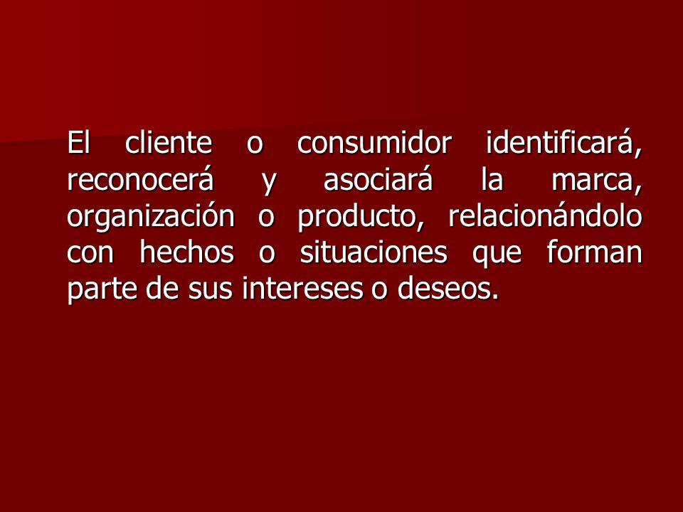 El cliente o consumidor identificará, reconocerá y asociará la marca, organización o producto, relacionándolo con hechos o situaciones que forman parte de sus intereses o deseos.