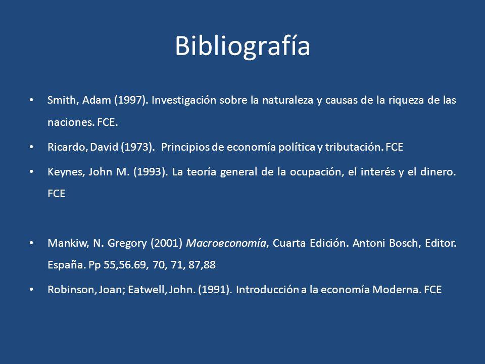 Bibliografía Smith, Adam (1997). Investigación sobre la naturaleza y causas de la riqueza de las naciones. FCE.