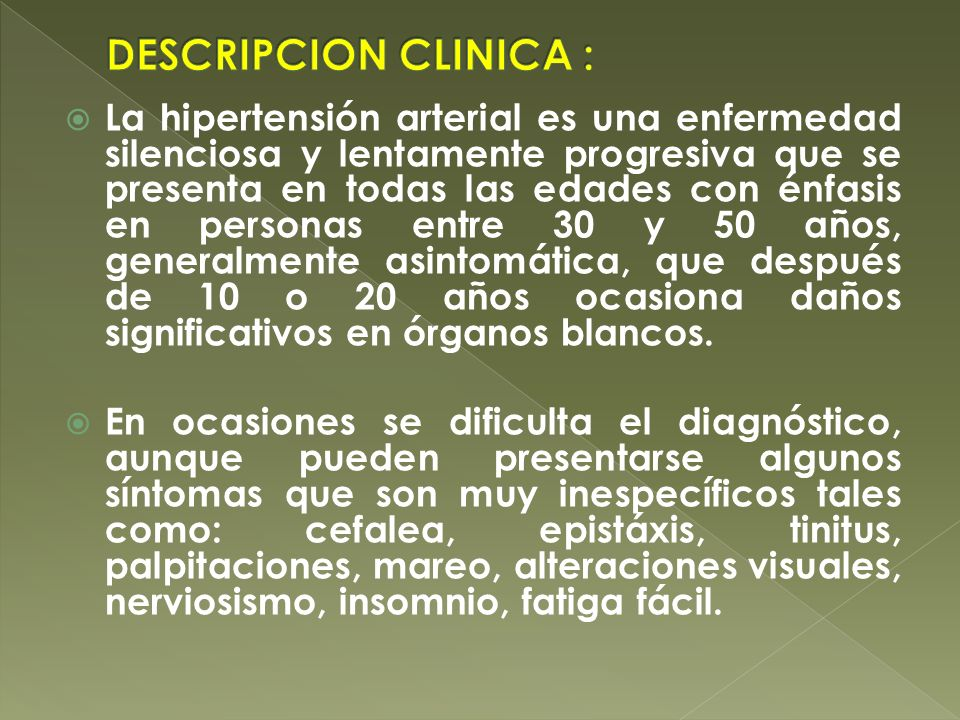 DESCRIPCION CLINICA :