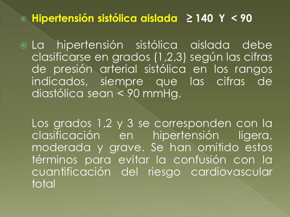 Hipertensión sistólica aislada ≥ 140 Y < 90