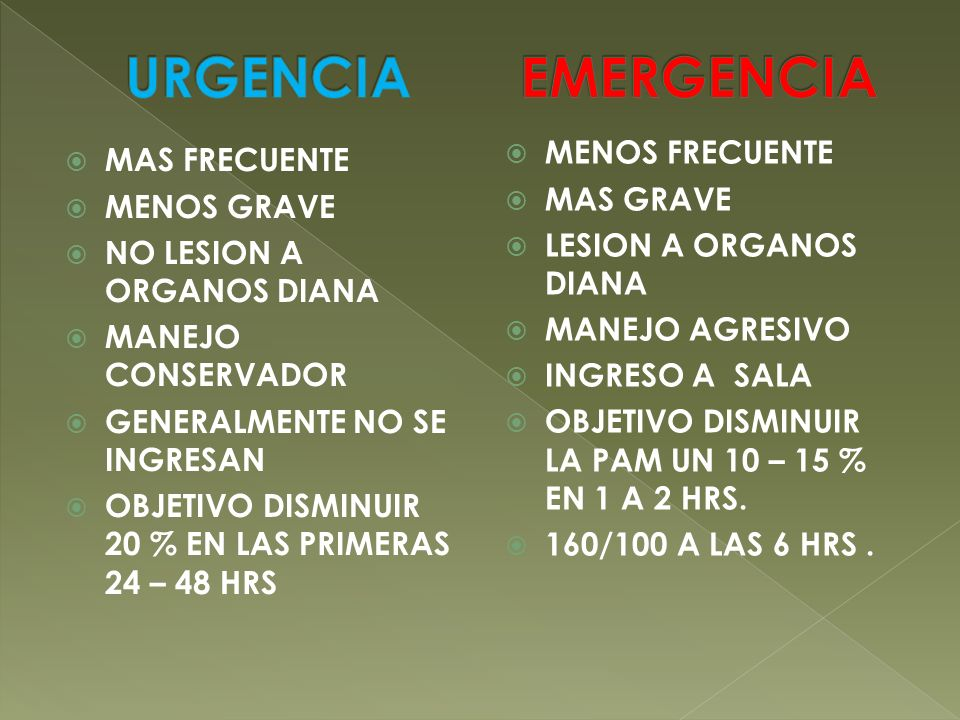 URGENCIA EMERGENCIA MENOS FRECUENTE MAS FRECUENTE MAS GRAVE