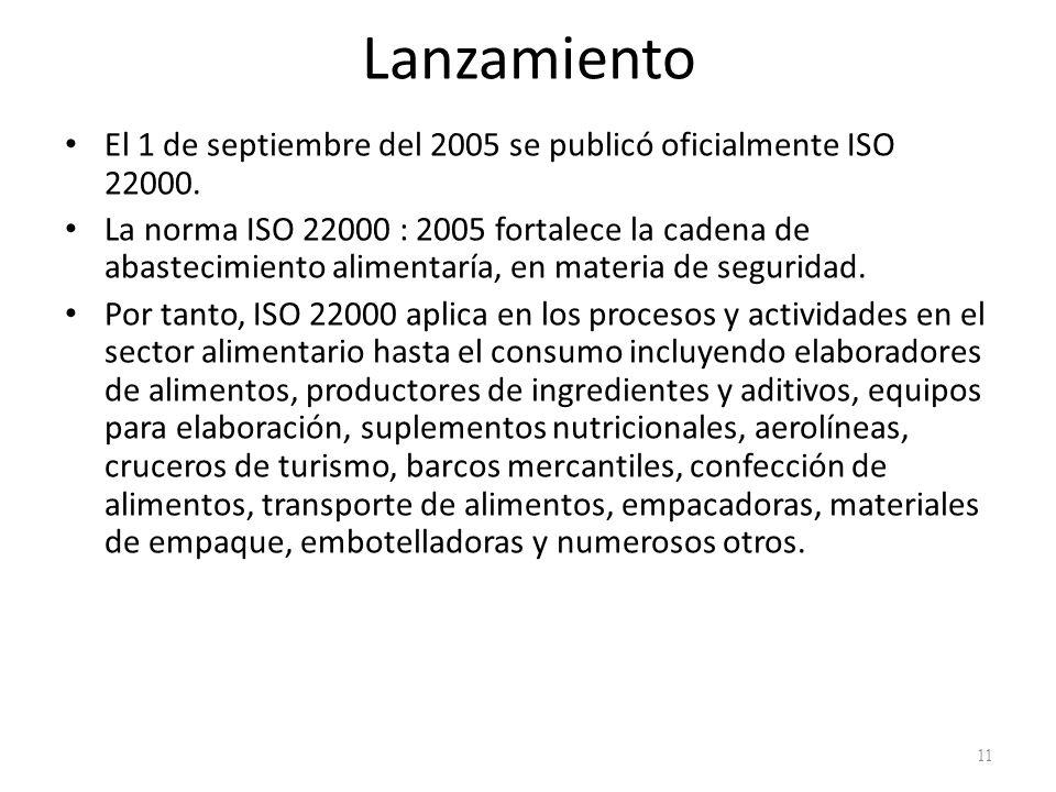 Lanzamiento El 1 de septiembre del 2005 se publicó oficialmente ISO 22000.