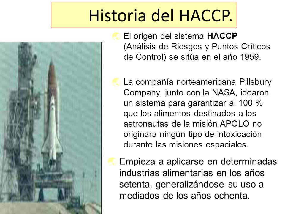 Historia del HACCP. El origen del sistema HACCP (Análisis de Riesgos y Puntos Críticos de Control) se sitúa en el año 1959.