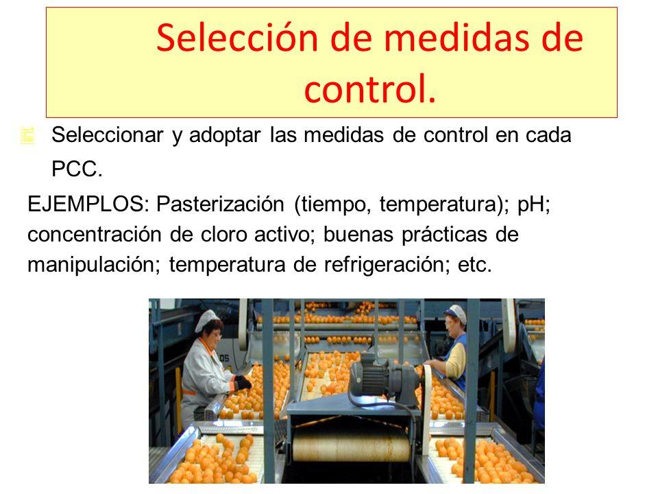 Selección de medidas de control.