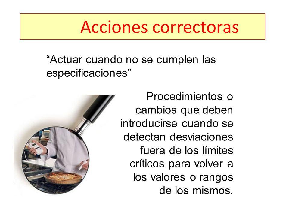 Acciones correctoras Actuar cuando no se cumplen las especificaciones