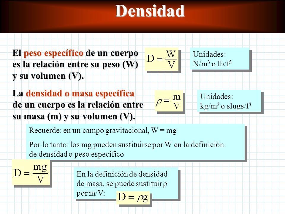 Densidad El peso específico de un cuerpo es la relación entre su peso (W) y su volumen (V). Unidades: N/m3 o lb/f3.