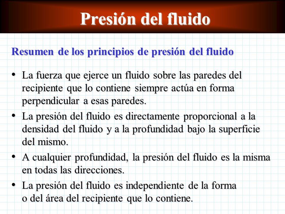 Presión del fluido Resumen de los principios de presión del fluido