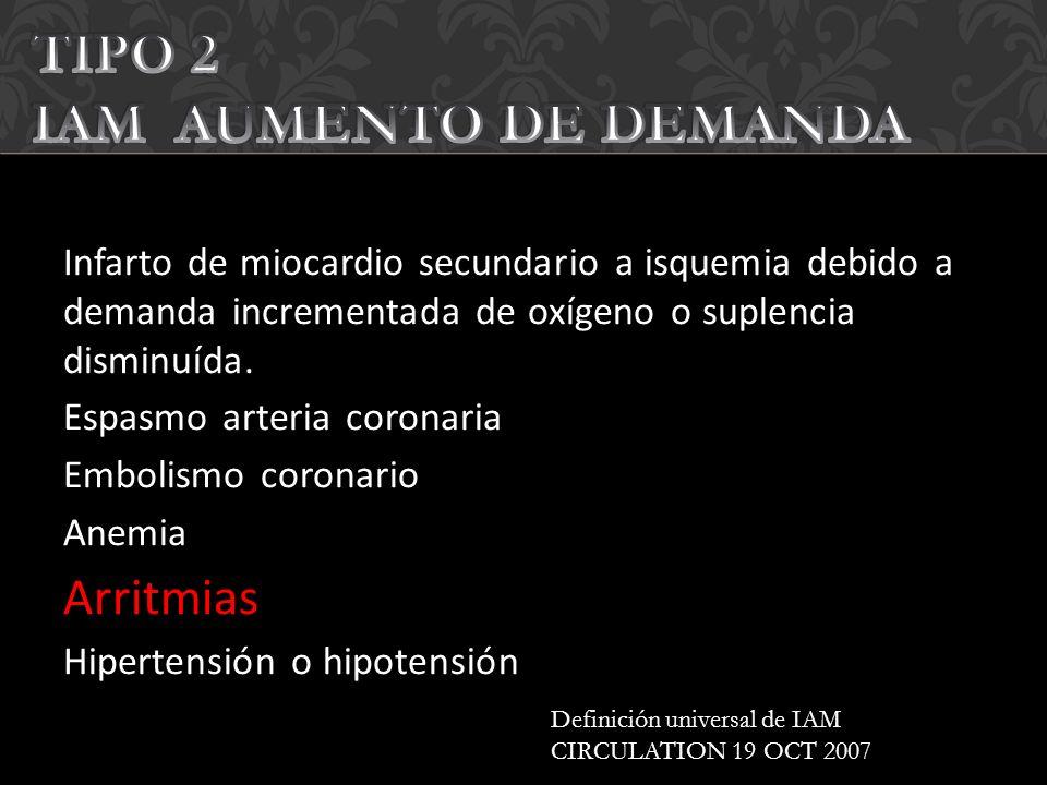 TIPO 2 IAM AUMENTO DE DEMANDA Arritmias