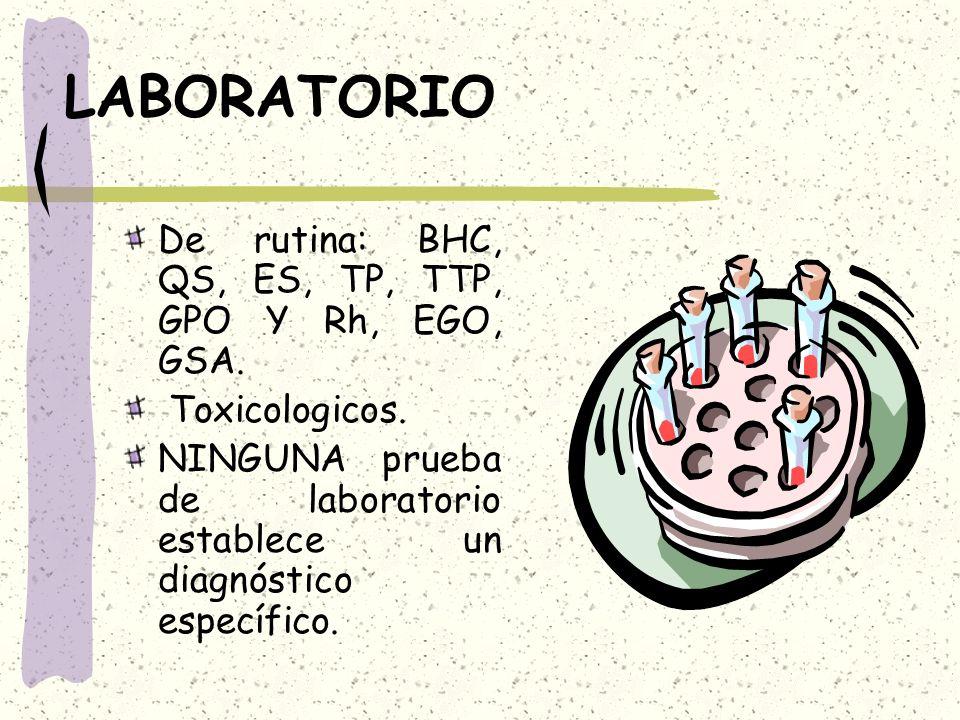 LABORATORIO De rutina: BHC, QS, ES, TP, TTP, GPO Y Rh, EGO, GSA.