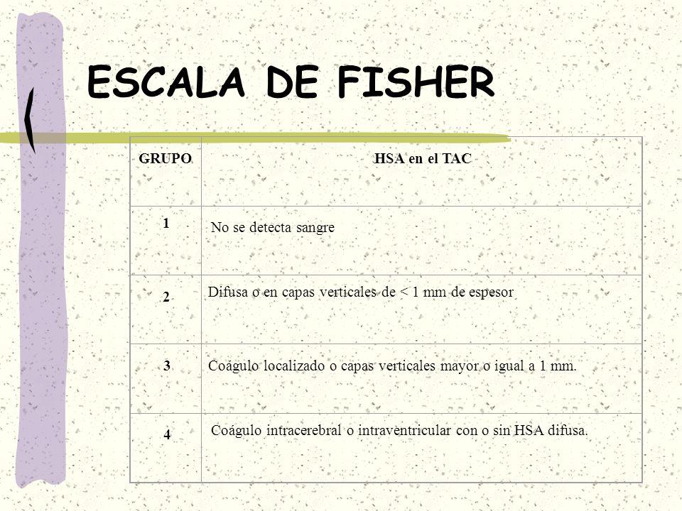 ESCALA DE FISHER GRUPO HSA en el TAC