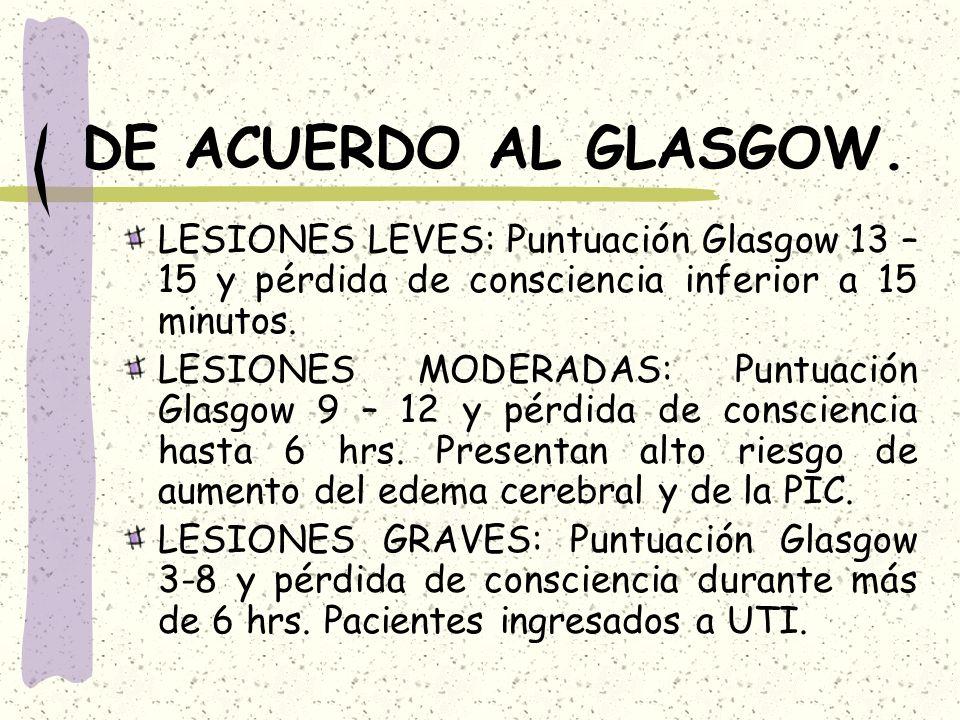 DE ACUERDO AL GLASGOW. LESIONES LEVES: Puntuación Glasgow 13 – 15 y pérdida de consciencia inferior a 15 minutos.