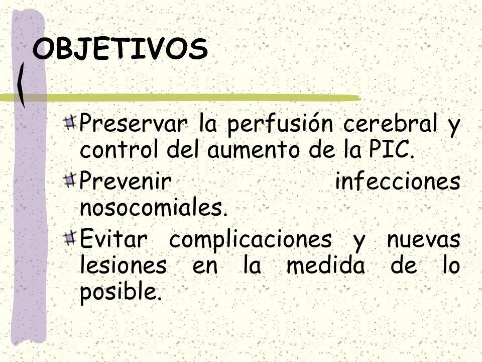 OBJETIVOS Preservar la perfusión cerebral y control del aumento de la PIC. Prevenir infecciones nosocomiales.
