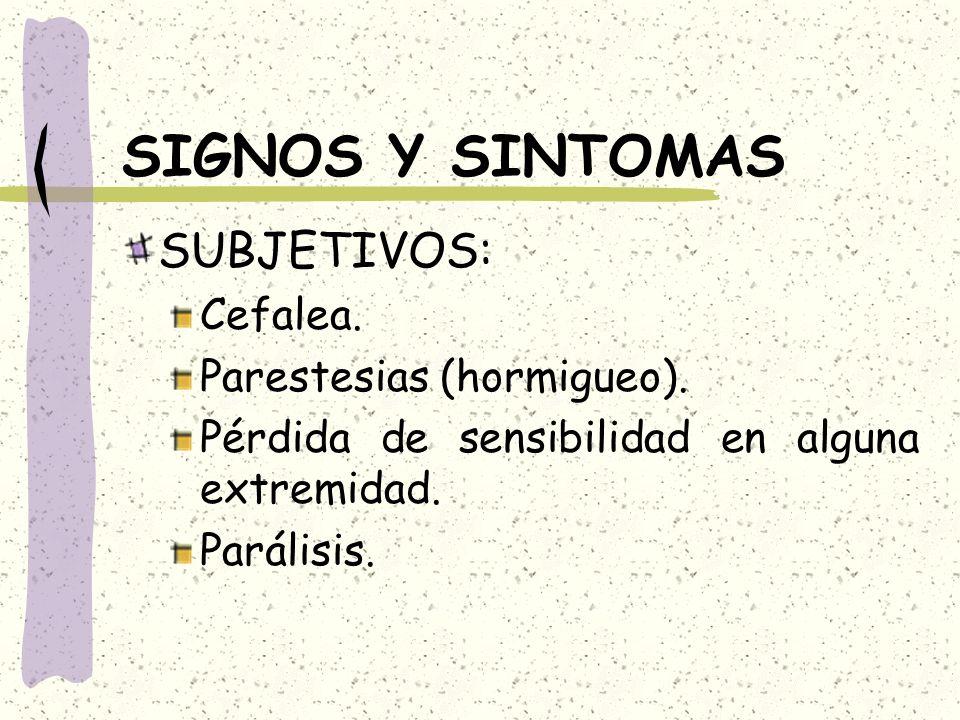 SIGNOS Y SINTOMAS SUBJETIVOS: Cefalea. Parestesias (hormigueo).