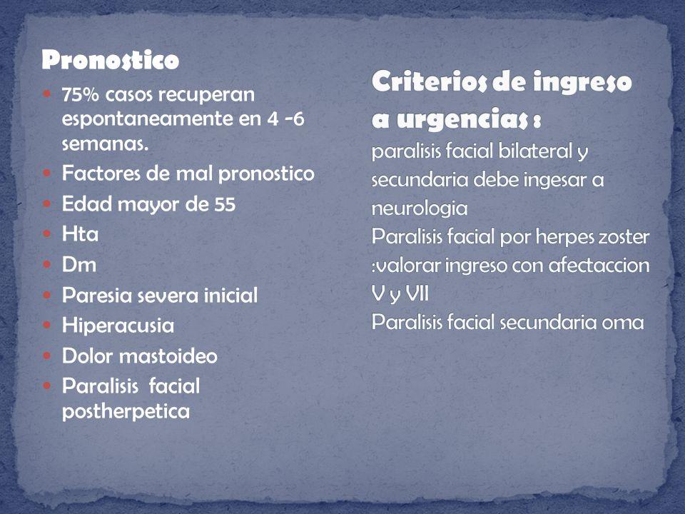 Criterios de ingreso a urgencias : paralisis facial bilateral y secundaria debe ingesar a neurologia Paralisis facial por herpes zoster :valorar ingreso con afectaccion V y VII Paralisis facial secundaria oma