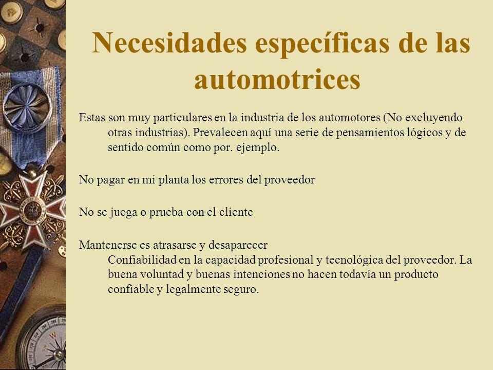 Necesidades específicas de las automotrices