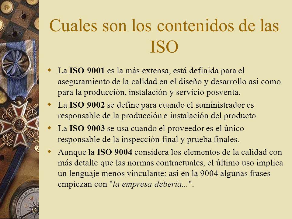 Cuales son los contenidos de las ISO
