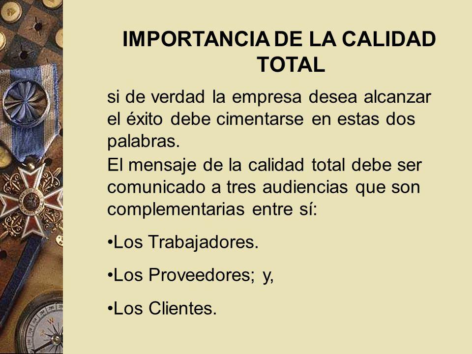 IMPORTANCIA DE LA CALIDAD TOTAL