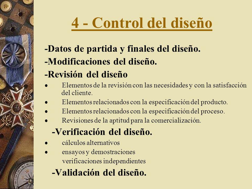 4 - Control del diseño -Datos de partida y finales del diseño.