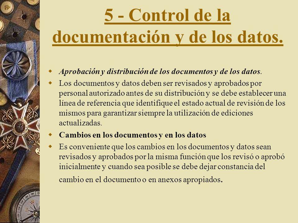 5 - Control de la documentación y de los datos.