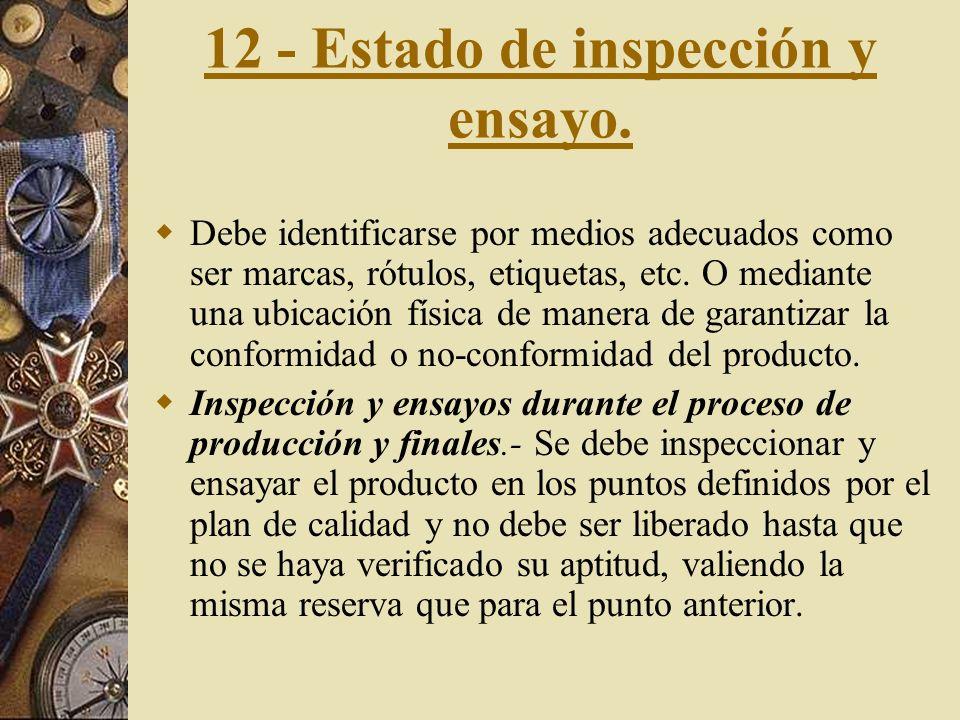 12 - Estado de inspección y ensayo.