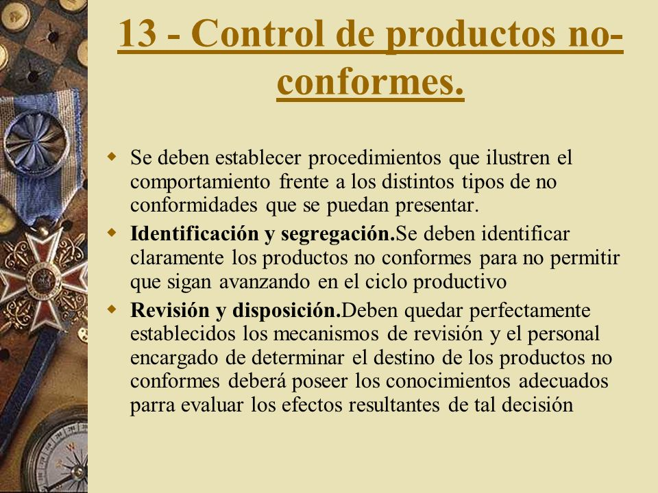 13 - Control de productos no-conformes.
