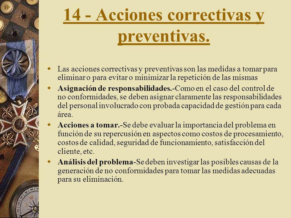 14 - Acciones correctivas y preventivas.