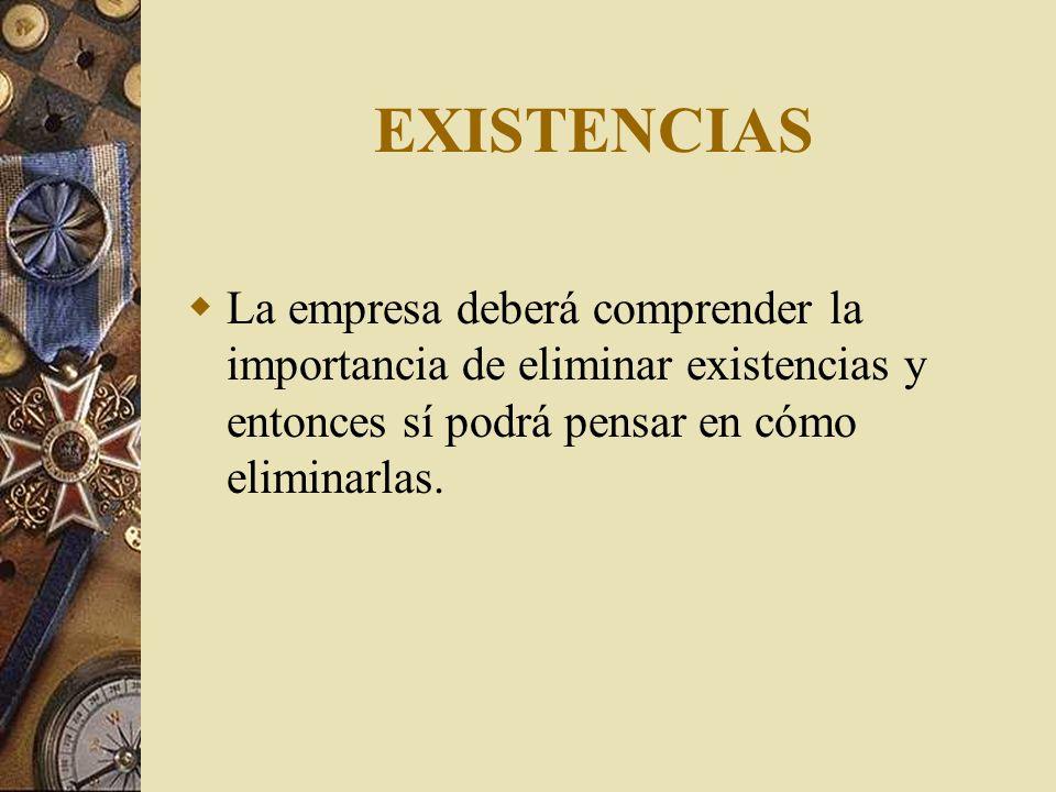 EXISTENCIAS La empresa deberá comprender la importancia de eliminar existencias y entonces sí podrá pensar en cómo eliminarlas.