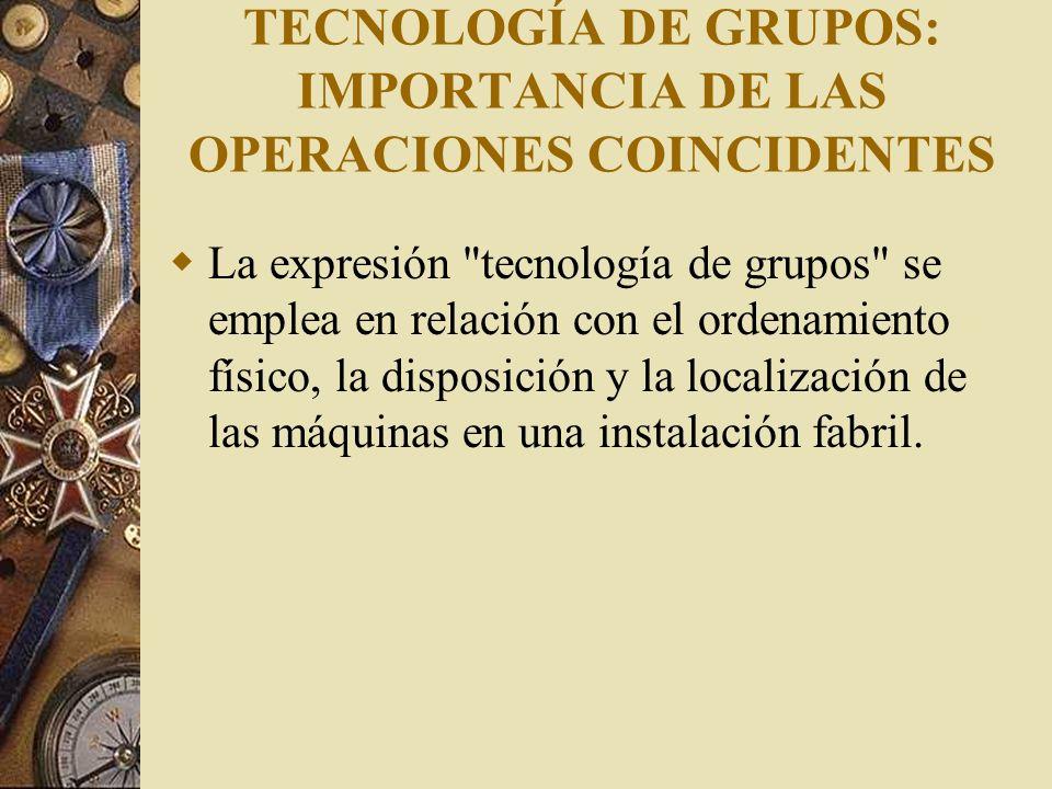 TECNOLOGÍA DE GRUPOS: IMPORTANCIA DE LAS OPERACIONES COINCIDENTES