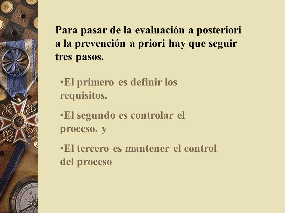 Para pasar de la evaluación a posteriori a la prevención a priori hay que seguir tres pasos.