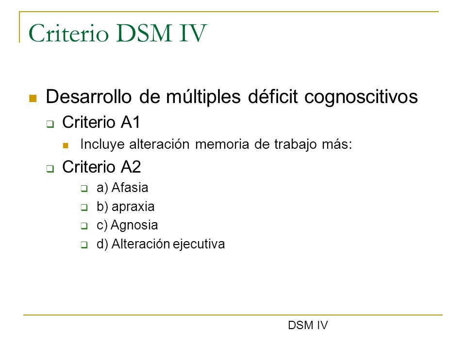 Criterio DSM IV Desarrollo de múltiples déficit cognoscitivos