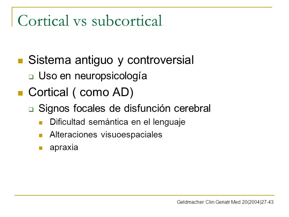 Cortical vs subcortical